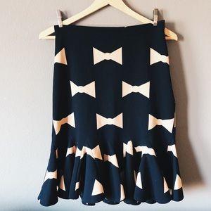 ANTHROPOLOGIE Eva Franco Bow Tie Ruffle Skirt 0 XS